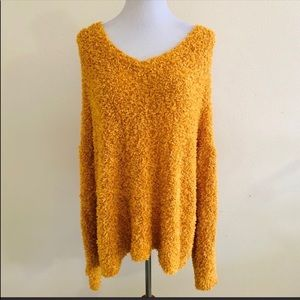 Lou & Gray Slouchy Sweater V Neck Yellow Mustard